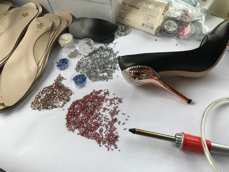 Die Verzierung des Crystal Rose Designer High Heel